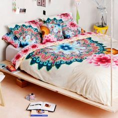 hippie, boho, bohemian, bedding, bedroom, far east, mandala, elephant, medallion design, teen, college. Desigual Mandala Reversible Duvet Cover - BedBathandBeyond.com
