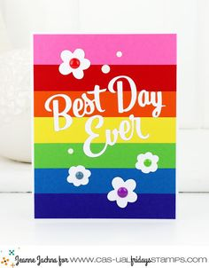 A Kept Life: CAS-ual Fridays Stamps - Best Day Ever! #casualfridays #rainbow #card #cardmaking #papercrafting #die #word #bestdayever