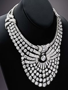 Van Cleef & Arpels fashioned this diamond necklace for Queen Nazli of Egypt in the 1930s. Set with more than 600 round and baguette diamonds weighing a total of approximately 217 carats, it sold for $4.3 million. Photo courtesy of Sotheby's