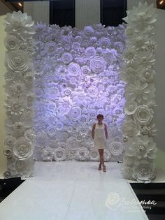 Paper Flower Wall 11' X 16' For Rental White Or Ivory Flowers For Weddings, Window Display, Fashion Photos, Music Festivals, Photo Backdrop