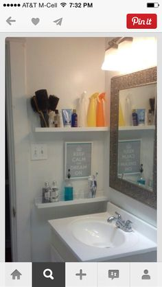 Shelves by sink & mirror