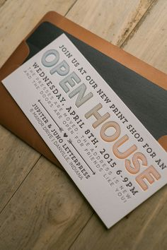 Open House Invitation, new business open house, moving open house card wording, letterpress invitations, ombre, split fountain, rainbow roll