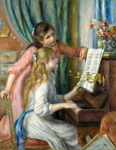https://flic.kr/p/dATp7K | Auguste Renoir - Two Young Girls at the Piano [1892] | In late 1891 or early 1892 Renoir was invited by the French government to execute a painting for a new museum in Paris, the Musée du Luxembourg, which was to be devoted to the work of living artists. He chose as his subject two girls at the piano. Aware of the intense scrutiny to which his submission would be subjected, Renoir lavished extraordinary care on this project, developing and refining the composition…