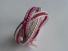 Pink-fehér fonott memória karkötő