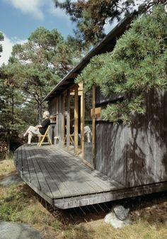 Juhani Pallasmaa on the rear terrace of his summer cottage.