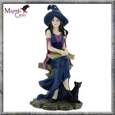 Selene Witch Cat Figurine Ornament Pagan Witchcraft Gifts UK. This beautiful hand painted Witch sits with her spell book on her lap, her black cat sits at her feet. She looks stunning with her purple dress and purple pointed hat with star decoration.