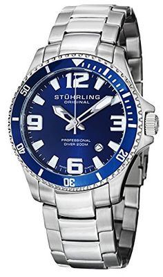 #braceletwatch #stuhrlingwatches Stuhrling Original Men's 395.33U16 Aquadiver Regatta Analog Swiss Quartz Stainless Steel Link Bracelet Watch Check https://www.carrywatches.com