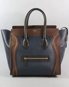 Celine Navy Blue & Brown Leather Mini Luggage Tote