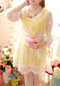 Wholesale Ladylike Style Puff Sleeve Scoop Neck Elastic Waist Drawstring Jacquard Lace Dress For Women (VIOLET,M), Lace Dresses - Rosewholes. Cute Lace Dresses, Lace Dress With Sleeves, Ladylike Style, Elastic Waist, Fashion Ideas, Scoop Neck, Spring, Sexy, Inspiration