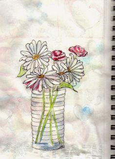 Creative Explorer: sketch of vase & daisies, watercolor, inktense pencils