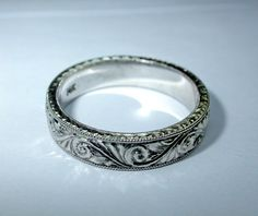Hand Engraved 14K White Gold Ring / Band 5mm Wide. Wedding. Engagement. Bridal. on Etsy, $595.00