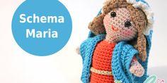 pattern in italian Diy Nativity, Christmas Nativity, Christmas Angels, Crochet Winter, Love Crochet, Crochet Dolls, Crochet Hats, Amigurumi Tutorial, Hand Puppets