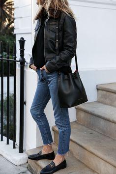 Fashion Me Now | Leather jacket | Sandro Black knit | Zoe Jordan Jeans | Vintage Levis via Reformation Shoes | Gucci Bag | Mansur Gavriel