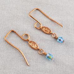 Copper Teardrop & Blue Swarovski Crystal Earrings  SER149
