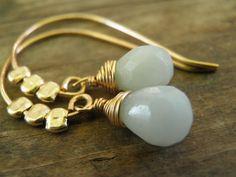 Blue Aqua Green Amazonite Briolette And Gold Filled Beads Earrings, 14k Gold Filled, Summer Feminine, Gift For Her - I love these earrings! #jewelry #aqua @Annali