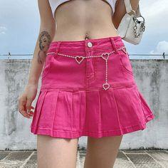 Pink Denim Skirt, Pink Pleated Skirt, Pink Shorts, Cute Skirts, Short Skirts, Mini Skirts, Jean Skirts, Short Dresses, Jean Rose