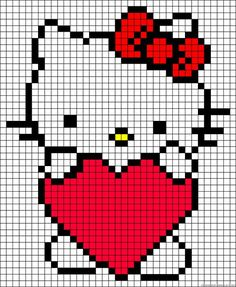 Diy Crafts - Learn to make your own colorful bracelets of threads or yarn. Cross Stitch Charts, Cross Stitch Designs, Cross Stitch Patterns, Knitting Charts, Baby Knitting, Hello Kitty Crochet, Pixel Crochet, C2c Crochet, Graph Paper Art