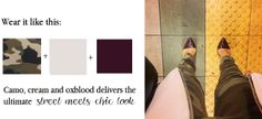Camo and Oxblood Palette Inspiration via Tiffany Pinero Style