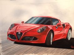 My latest artwork, a painting of an Alfa Romeo 4C. More paintings at www.geertjandebont.com