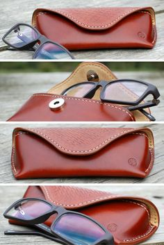 Eyeglasses leather case handmade stamped brown leather