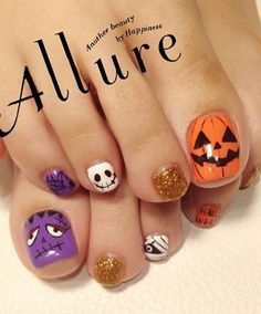 12 Halloween Toe Nail Art Designs & Ideas – Tips For Organizing Your Dog Supplies Halloween Toe Nails, Halloween Nail Designs, Seasonal Nails, Holiday Nails, Christmas Nails, Pedicure Nails, Diy Nails, Toenails, Fancy Nails