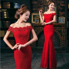 Red Mermaid Lace Evening Dress Maxi Off the Shoulder Long Crystal Prom Gowns