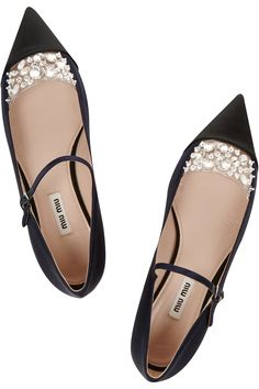 { Flats So Fancy, They're Better Than Party Heels. Miu Miu Crystal Embellished Satin Pointed Toe Flats. }