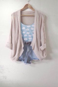 This looks like a wonderful spring and summer outfit! Such cute clouds! Outfits For Teens, Casual Outfits, Cute Outfits, Girl Outfits, Sweet Style, Looks Style, Mode Inspiration, Mode Style, Look Fashion