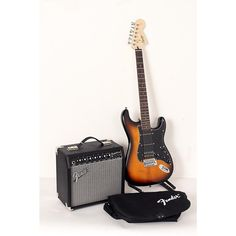 Squier Affinity Series Stratocaster HSS Electric Guitar Pack with Fender Champion 20W Guitar Combo Amp Brown Sunburst 190839099846