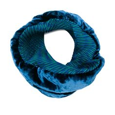 Issey Miyake velvet infinity scarf ($417) ❤ liked on Polyvore featuring accessories, scarves, blue, circle scarf, loop scarves, blue shawl, tube scarf and issey miyake