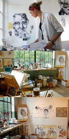 A creative space should be slightly messy - that's where creativity comes from. A pristine, super clear office is not inspiring. Anna Schuleit working in her Studio Studios D'art, Home Art Studios, Art Studio At Home, Artist Studios, Artist Workspace, Deco Studio, Studio Room, Art Studio Design, Design Art