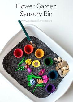 Make Your Own Flower Garden Sensory Bin. The kids will love it!