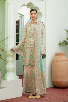 Pakistani Wedding Dresses, Pakistani Bridal, Indian Dresses, Pakistani Suits, Chiffon Fabric, Chiffon Dress, Embroidery Dress, Salwar Kameez, Salwar Suits