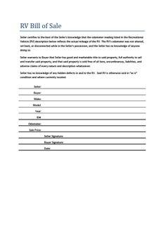 travel trailer bill of sale