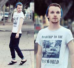 H&M Lost World Tee, Zara Discharge Denim, Birkenstocks Leather Sandals, H&M Knit Beanie