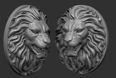 printable model Lion Pendant - two versions, available in STL, animal art, ready for animation and other projects Compound Wall Design, Sculptures, Lion Sculpture, 3d Printable Models, 3d Projects, 3d Animation, 3d Printing, Roman, Pendant