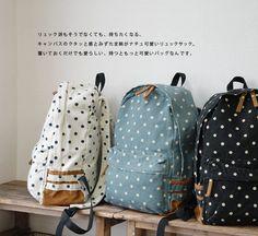 Gepunkteter Rucksack in drei Farben