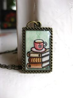 Books and a Cup of Tea Hand Painted Necklace