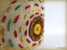 Multicolour cotton hand embroidered cuff OOAK by ArtsInPants, £20.00