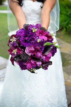 Purple wedding flower bouquet, bridal bouquet, wedding flowers, add pic source on comment and we will update it. can create this beautiful wedding flower look. Purple Wedding Bouquets, Bride Bouquets, Bridal Flowers, Floral Bouquets, Purple Flowers, Floral Wedding, Wedding Colors, Fall Wedding, Dream Wedding