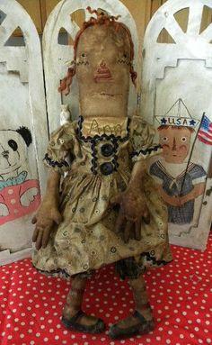 EXTREME Primitive Very Primitive Folk Art Nostalgic by mustardseed
