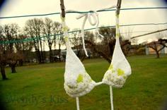 Knitted Bikini Top fair isle handknitted white green by WendysKiss, $20.00