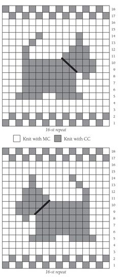 """about THE DESIGN scottie dog CHART heart CHART snowflake CHART """"We heart charts!"""" Even newer knitters enjoy using the simple two-color charted motifs found in t"""