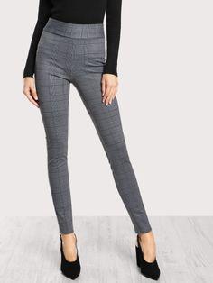 6fe237e22c Elasticized Waist Plaid Leggings Only US$15.00 Leggings Style, Gray  Leggings, How To Wear