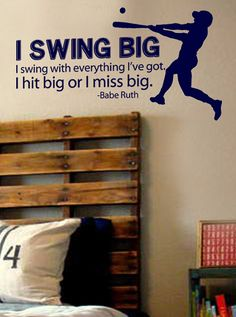 x 29 Swing Big Babe Ruth Quote Baseball by designstudiosigns, etsy