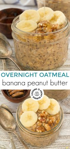 This easy Overnight Banana Peanut Butter Oatmeal is delicious and healthy! It's a great way to start your day with the prep the night before. Chia Breakfast, Overnight Breakfast Casserole, Brunch Recipes, Breakfast Recipes, Breakfast Dishes, Bread Appetizers, Fiber Rich Foods, Overnight Oatmeal, Peanut Butter Oatmeal