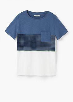 Slub-cotton printed t-shirt   MANGO MAN