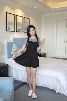 Stripe T Shirt And Skirt, Php657.00