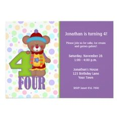 Another cute teddy bear clown birthday party invitation #invite #card #kids