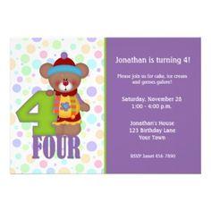 Another cute teddy bear clown birthday party invitation #invite #card #kids